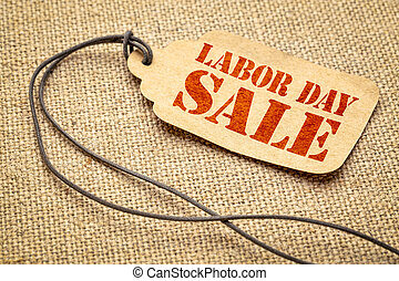 Labor Day sale sign on paper price tag