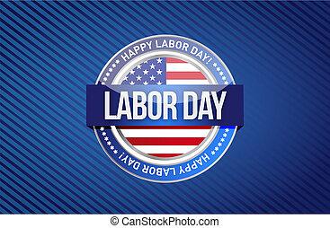 labor day seal sign illustration design graphic background