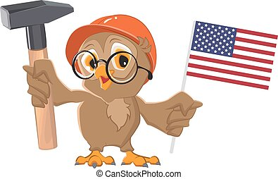 Labor Day USA. Owl holding hammer