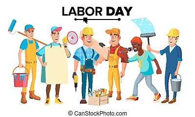 Labor Day Vector. Modern Workers Set. Isolated Flat...