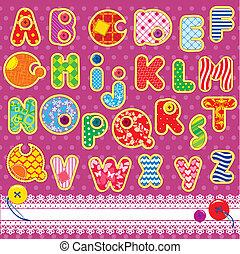 labor de retazos, alfabeto, abc