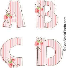 labor de retazos, alphabet., carta, b, c, d