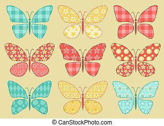 labor de retazos, butterflys, conjunto, 2.