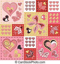 labor de retazos, colorido, con, corazones, y, butterfly., seamless, pattern., dorado, brillo, elements., scrapbooking, series., vector, fondo.