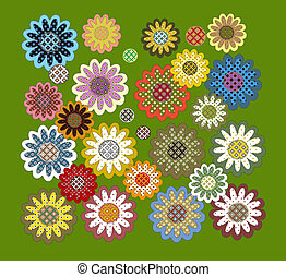 labor de retazos, flores, conjunto