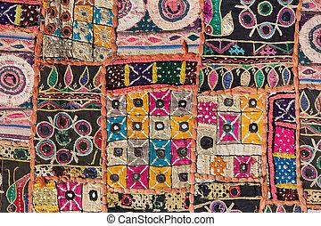 labor de retazos, indio, rajasthan, asia, alfombra