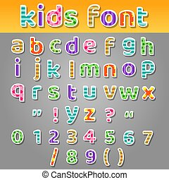 labor de retazos, lindo, niños, patrones, alfabeto