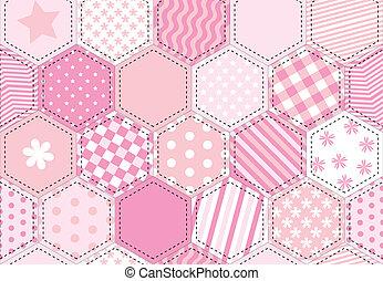 labor de retazos, rosa, colcha
