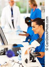 labor, laboratórium, csoport, műszaki, dolgozó