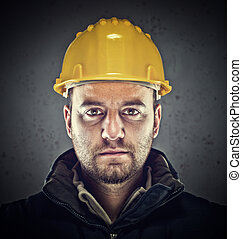 labor portrait - portrait of caucasian labor and grunge...