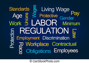 Labor Regulation Word Cloud on Blue Background