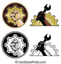 Labor symbols - Gear and fist labor symbols in color, black...