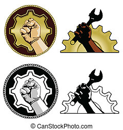 Labor symbols - Gear and fist labor symbols in color, black...