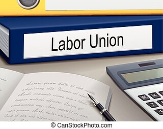 labor union binders isolated on the office table