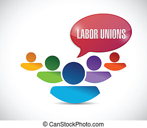 labor union concept illustration design over a white...