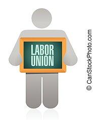 labor union sign illustration design over a white background