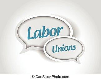 labor unions message bubbles illustration design over a white background