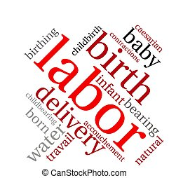 Labor word cloud on a white background.