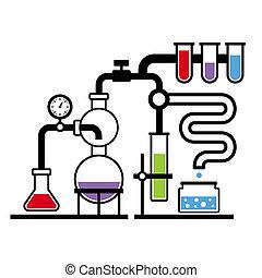 laboratório, 3, infographic, jogo, química