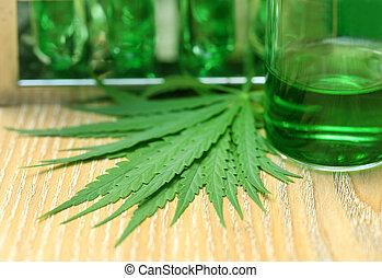 laboratório, folhas, cannabis