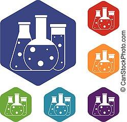 laboratório, frascos, ícones, jogo