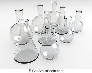 laboratório, garrafas