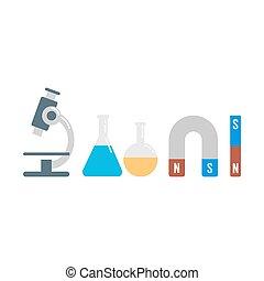 laboratório, ilustração, equipamento