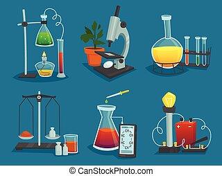 laboratório, jogo, equipamento, desenho, ícones