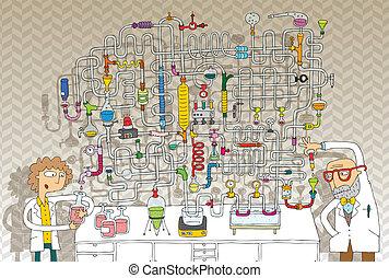 laboratório, labirinto, jogo