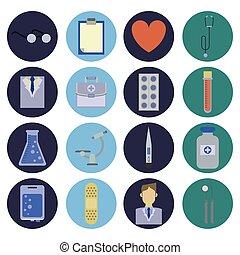 laboratório, pacote, ícones, ciência, jogo