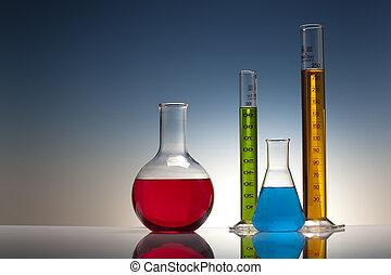 laboratório, química, vidro