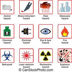 laboratório, segurança, símbolos