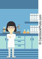 laboratório, vetorial, illustration., femininas, assistente