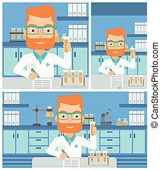 laboratório, working., assistente
