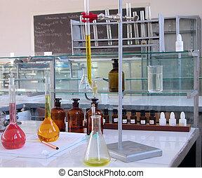 laboratórium, íróasztal