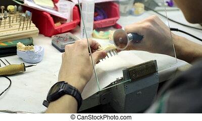 laboratórium, fogászati, noha, fog