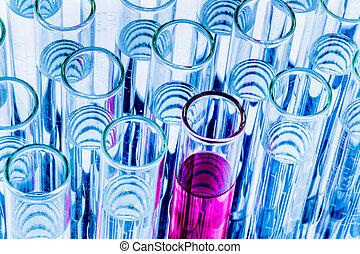 laboratórium glassware, alatt, a, laboratórium, kísérlet, alatt, kémia