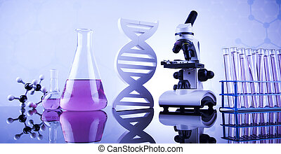 laboratórium glassware, kémia, tudomány, háttér