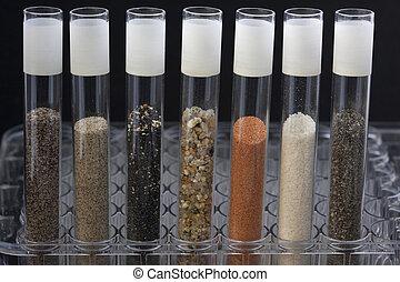 laboratórium, homok, próba, csövek