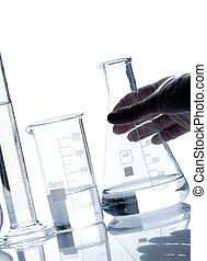 laboratórium, palackok, csoport, üres