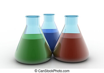laboratórium, palackok, fékez, folyékony