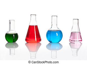 laboratórium, palackok, liqiuds, csoport, színezett