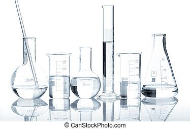laboratórium, világos, csoport, palackok, folyékony