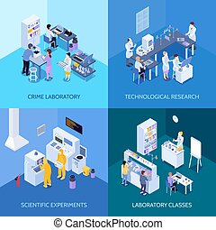 laboratoř, isometric, design, pojem