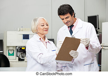 laboratoire, écriture, presse-papiers, scientifiques
