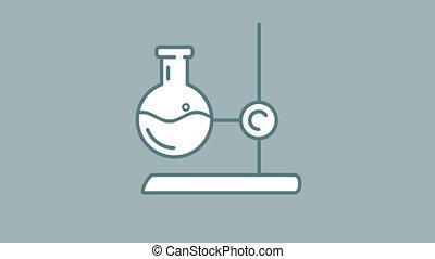 laboratoire, alpha, stand, flacon, icône, ligne, canal