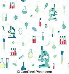 laboratoire, bacteria., toile, seamless, pipettes, logo, app, essai, microscope, modèle, ui, flacons, vecteur, tubes