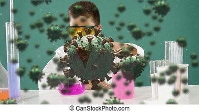 laboratoire, cellules, garçon, jeune, expérience, contre, covid-19