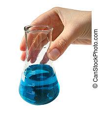 laboratoire, chimique, flacon, -