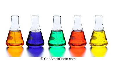 laboratoire, cinq, vases bec